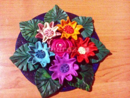 Квіткове панно з пластиліну своїми руками з дітьми 6-8 років