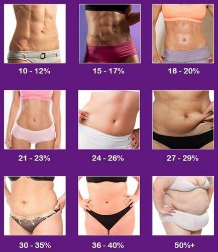 procentaj procentual de grăsime corporală într- o lună)