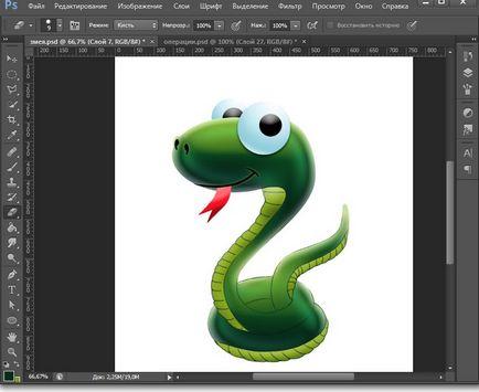 Jak narysować węża na lekcji Photoshopa w rysunku i projektowania w Adobe Photoshop