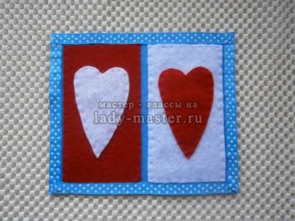 Підставка для чашки з сердечками з фетру, майстер - клас з фото, покроково