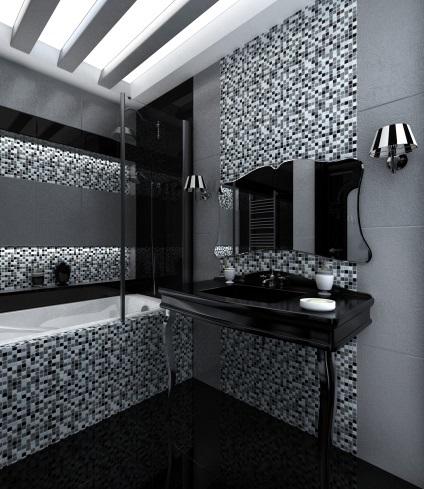 Fekete-fehér fürdőszoba - tervezés és fotó példákat stroypomoschnik