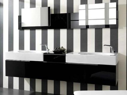 Fekete-fehér fürdőszoba fotó és tervezési jellemzők, hogyan feküdt csempe