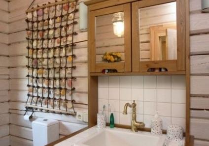 Fürdőszoba egy faház tervezés, fotó
