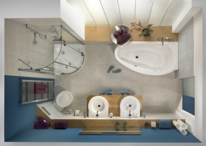 Tervezés fürdőszoba akkora, mint egy fürdőszoba, egy kis tervet, és elhelyezése vízvezeték, tervező