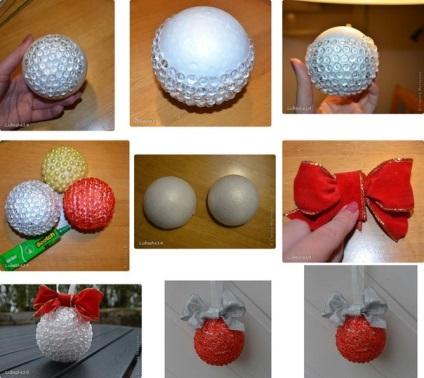Елочные шары своими руками из пенопластовых шаров 27