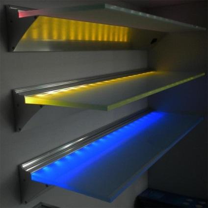 Подсветка для стеклянных полок своими руками 117