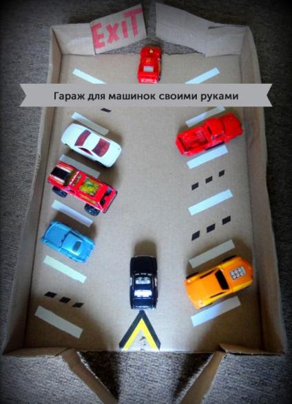Как из коробки сделать гараж для машинок 49