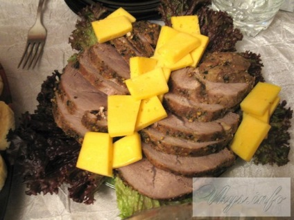 Sült sonka marhahús recept egy fotó