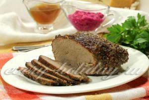 Sült sonka marhahús fólia a sütőben recept egy fotó