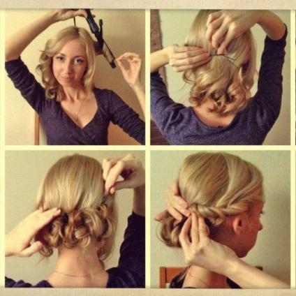 Причёска на средние волосы своими руками 57
