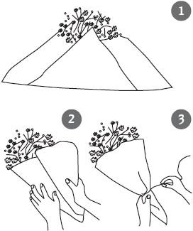 Упаковать цветы в бумагу схема