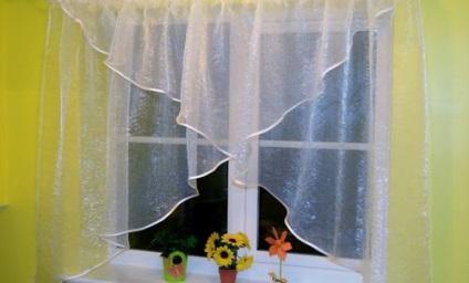 Своими руками шторы из органзы на кухню фото