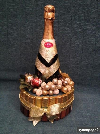 Подарок из конфет с шампанским своими руками 265