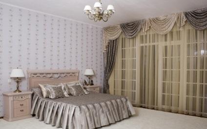 függöny a hálószoba erkéllyel stílusú design és színárnyalat