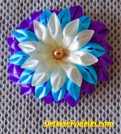 Цветы своими руками из тонких ленточек 88