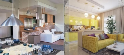 nappali és a konyha ötleteket, hogyan kell megosztani, hogyan kell ...