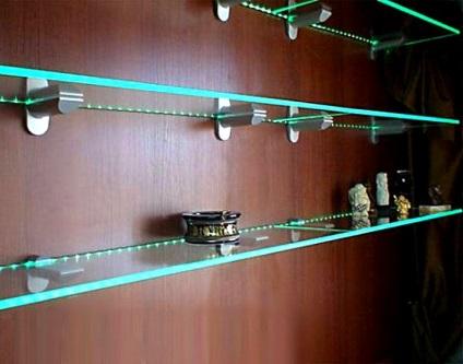 Подсветка для стеклянных полок своими руками 786