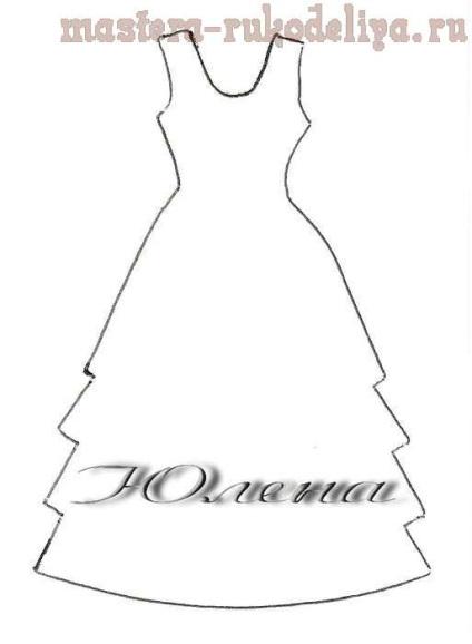 Открытка скрапбукинг платье шаблон 49
