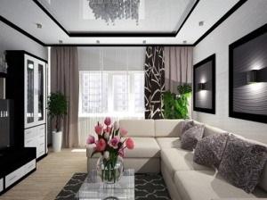 Дизайн гостиной черно-белого цвета
