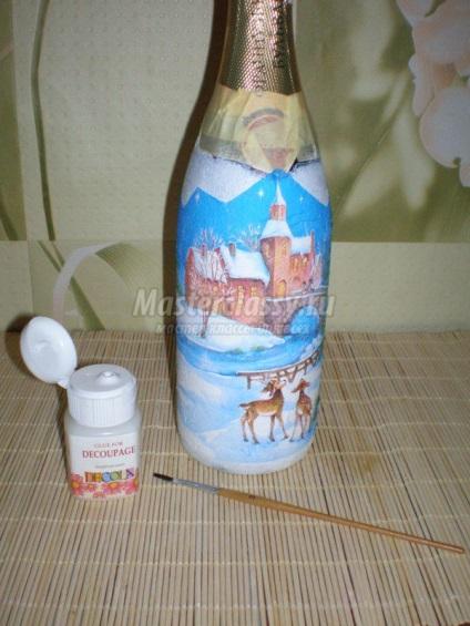 Декупаж пляшки шампанського різдво, майстер клас з покроковими фото