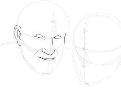 Hogyan kell felhívni egy emberi arcot szakaszosan ceruza, ls