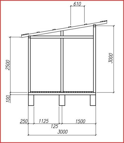 Rajz egy istálló egy fészer tető szakaszaiban az építési munkák, tippeket épület