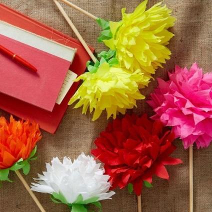 Hogyan, hogy a virágok papírból kezeddel műhelyek és fotót kész remekműveket ufmsoren Acacia