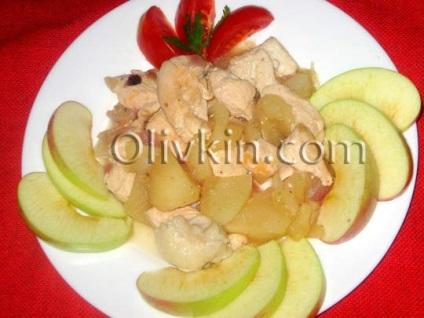Покроковий рецепт приготування смаженої курки з яблуками