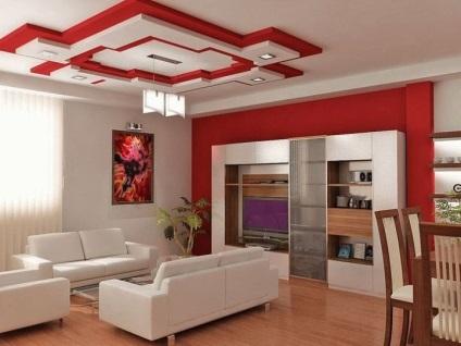divatos nappali piros színben