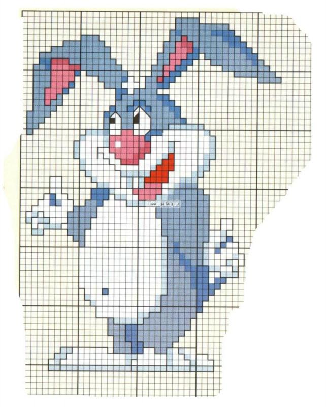 Вышивка крестом схема зайца 410