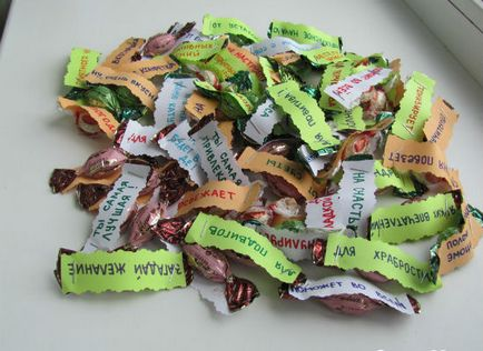 Открытка с конфетами с пожеланиями 1