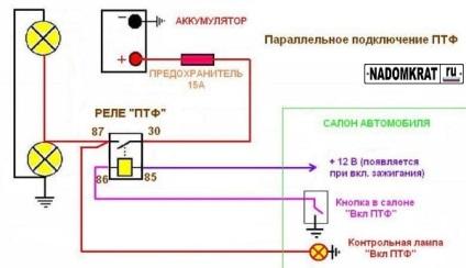 Схема подключения кнопок туманок