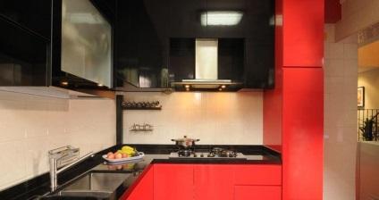 Fekete és piros konyha, konyha belső