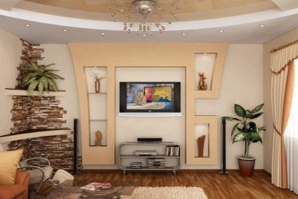 gipszkarton a nappaliban képet a csarnok belső fal tervezése