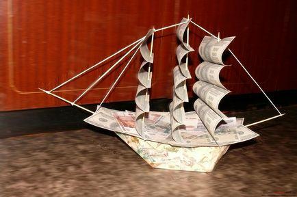 Денежные кораблики своими руками 10