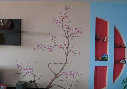 Дерево сакуры на стене своими руками как нарисовать 81