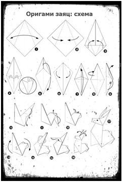 Оригами Заяц - схема сборки оригами по шагам