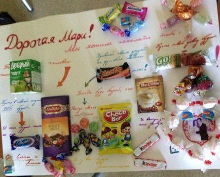 Поздравления на плакате со сладостями подруге на день рождения 54