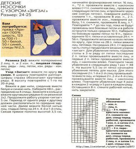 Схема вязания носков на 2 спицах схемы 945